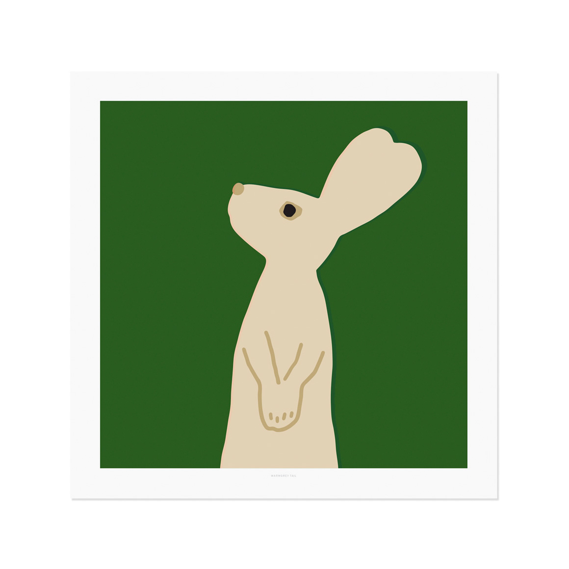 HEART RABBIT SQUARE - GREEN POSTER