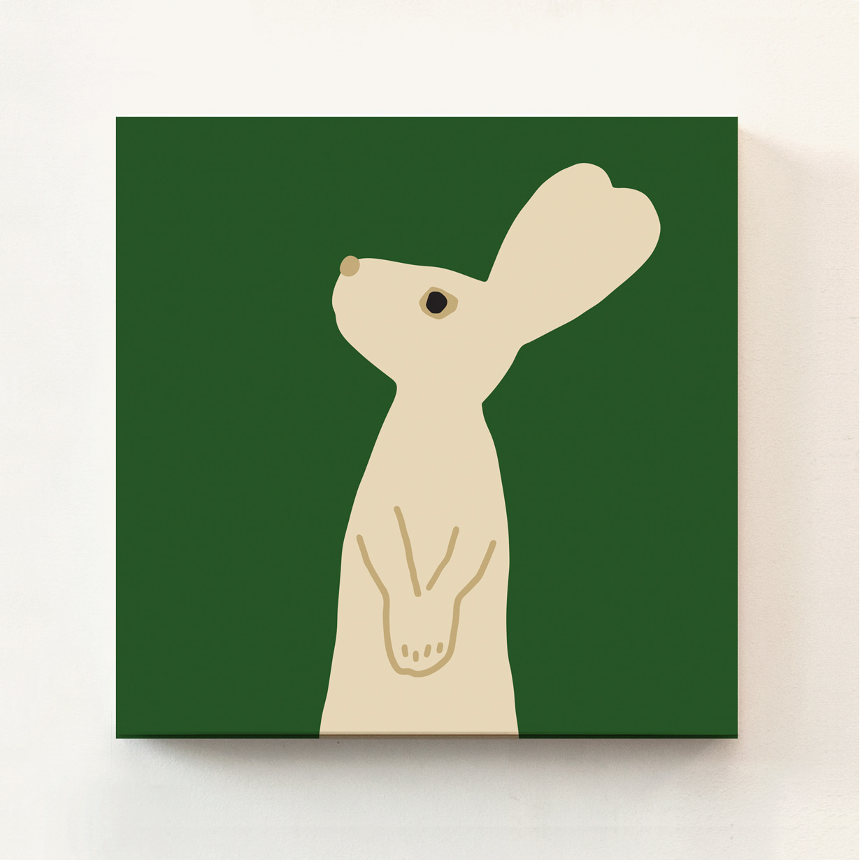 HEART RABBIT CANVAS - GREEN